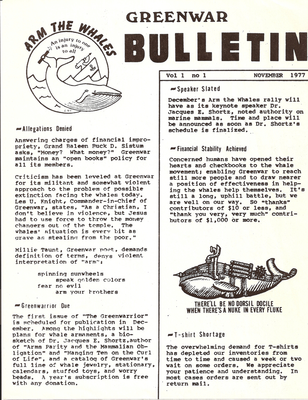 Greenwar Bulletin Vol 1 No 1